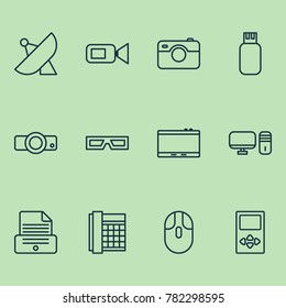 Hardware icons set with gadget, spectacles, presentation and other printer elements. Isolated vector illustration hardware icons.