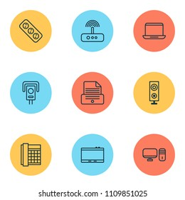 Hardware icons set with office telephone, modem, laptop and other notebook elements. Isolated vector illustration hardware icons.