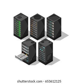 Hardware isometric equipment. 3d telecommunication server. Data center storage room objects. Computer database towers vector set. Internet equipment industry, server cluster illustration