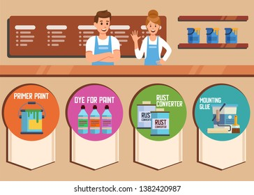 Hardware Online Store or Shop Vector Flat Banner Primer Paint and Dye Rust Converter Mounting Glue Man and Woman Consultants at Cash Register Desk Welcoming Offer Construction Goods Illustration