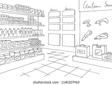 Hardware store graphic black white interior sketch illustration vector