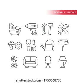 Hardware store, home improvement shop or DIY thin line icon set. Hand tools, bathtub, roller, hammer outline editable icons.