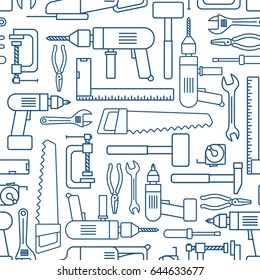 Hardware tool set linear seamless pattern. Vector carpenter or locksmith working tools thin line wallpaper