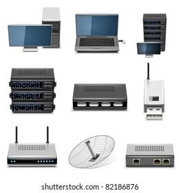 hardware vector icon set