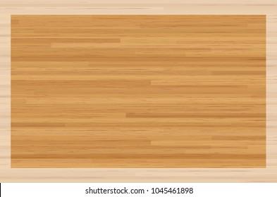 Hardwood maple basketball court floor viewed from above. Vector illustration.