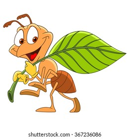 Hard-working ant carrying a leaf. Cartoon character isolated on white background. Colorful design for kids activity book, coloring page, colouring picture. Vector illustration for children.