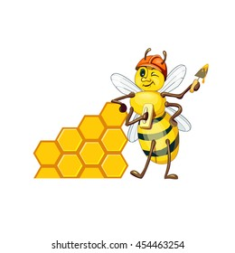 hardworking bee builder, building a wall with hundreds