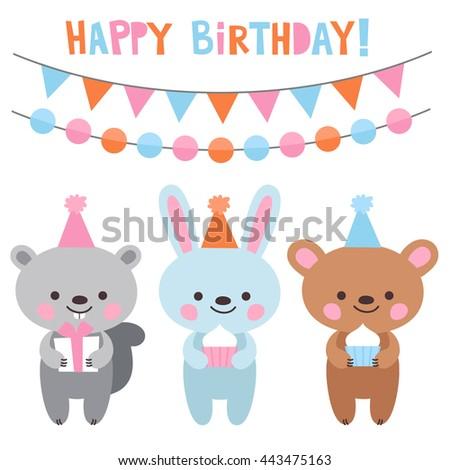 Hare Bear Birthday Party Birthday Card Stock Vector Royalty Free
