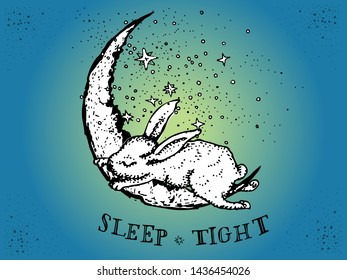 Hare or bunny rabbit sleeping on a crescent Moon, vector ink drawing in vintage style