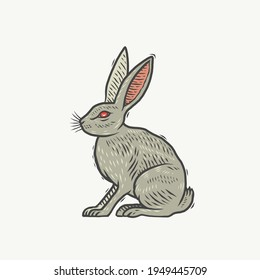 A hare. Can be used as a sketch of a tattoo.