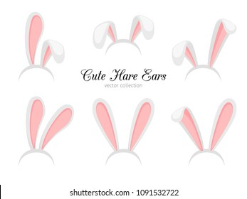 Hare ears. Funny cartoon easter rabbit or bunny ears band for costume design isolated on white background vector illustration
