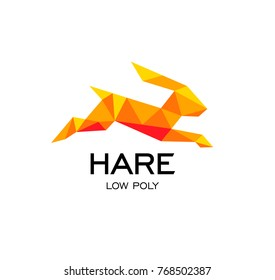 Hare geometrical sign, rabbit abstract polygonal vector logo template. Easter Bunny. Origami orange color low poly wild animals icon.
