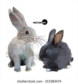 The hare and the rabbit black and white isolated on white background. Bunny and the cute Bunny is made in the style of vector polygon (abstract low-poly) illustration .