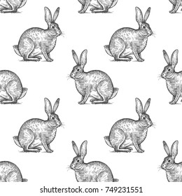 Hare or rabbit. Seamless pattern with forest animals. Hand drawing of wildlife. Vector illustration art. Black and white. Old engraving. Vintage. Design for fabrics, paper, textiles, fashion.