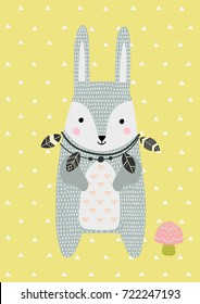 Hare in Scandinavian style. Vector illustration. Funny, cute poster.