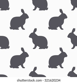 Hare silhouette seamless pattern. Rabbit meat meat. Background for craft food packaging or butcher shop design. Vector illustration