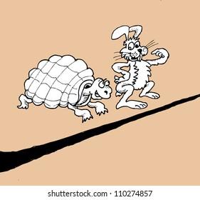 Hare and tortoise racing