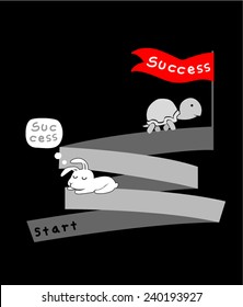 Hare and tortoise.Where efforts Success there