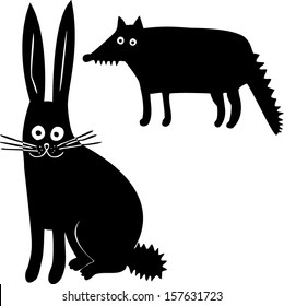 Hare and wolf. Hand drawn illustration.