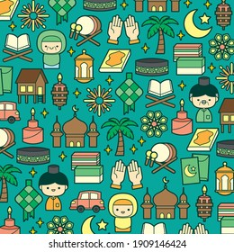 Hari Raya Aidilfitri festival background illustration with colourful flat traditional malay icon elements.