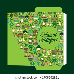 Hari Raya Aidilfitri festival green packet template design with colourful flat traditional malay icon elements. (Translation: Happy Fasting Day)