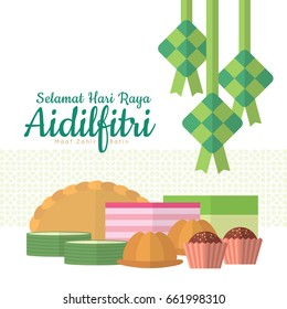 Hari Raya Aidilfitri greeting card with ketupat (malay rice dumpling) and kuih muih (malay pastry or dessert). (caption: Fasting day celebration, I seek forgiveness, physically & spiritually)