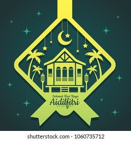 Hari Raya Aidilfitri greeting template. Vector traditional malay wooden house with oil lamp & coconut trees in ketupat shape of paper cut style. (translation: Happy Fasting Day)