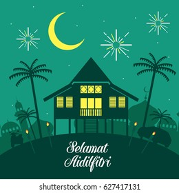 Hari Raya Aidilfitri vector illustration with traditional malay village house / Kampung. Caption: Fasting Day of Celebration