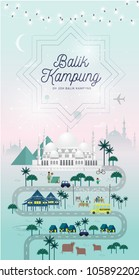 hari raya balik kampung greetings template with malay words that mean 'going home'