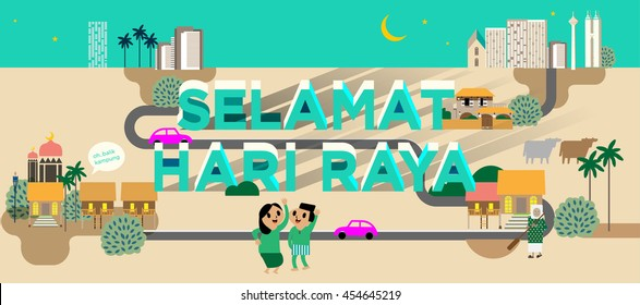 hari raya/ balik kampung template vector/ illustration balik kampung is a malay word that translates to (going home/ hometown)