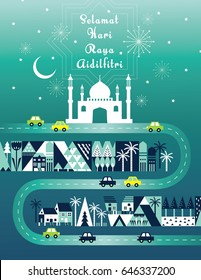 Hari raya /balik kampung template vector/ illustration balik kampung is a malay word that translates to 'going home/ hometown.