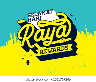 Hari Raya Celebration. Malay word selamat hari raya aidilfitri that translates to wishing you a joyous hari raya
