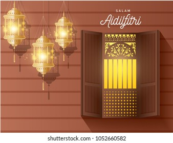 hari raya  greeting template with traditional kampung/wooden house window and lanterns vector/illustration with malay words that mean 'aidilfitri greetings'