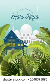 hari raya greetings template vector/illustration with mosque and kampung house with malay words that mean 'wishing you a happy hari raya'