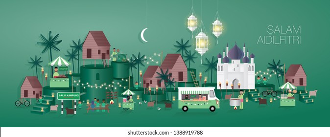 hari raya greetings template vector/illustration with malay words that mean 'blessed aidilfitri' and 'celebrate raya at home'