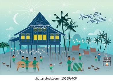 hari raya kampung scene greetings template with malay words that mean 'jolly aidilfitri'