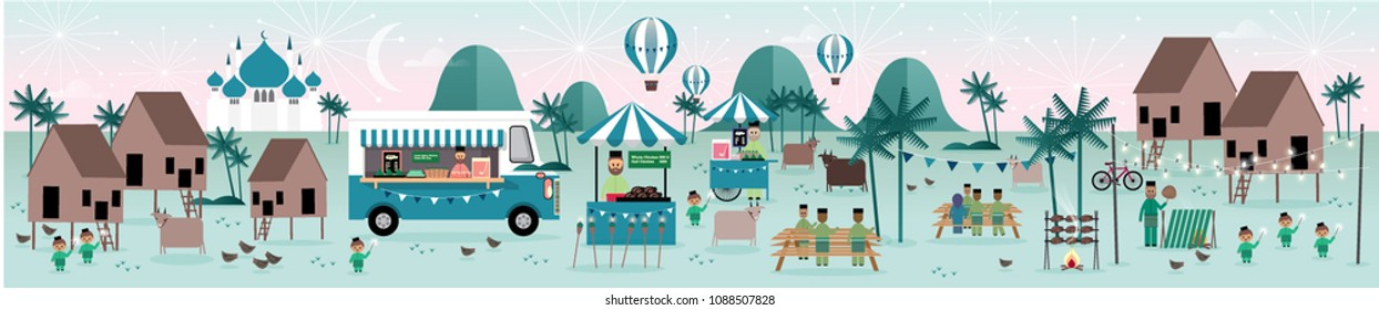 hari raya kampung scene greetings template vector/illustration with malay words that mean 'jolly aidilfitri'