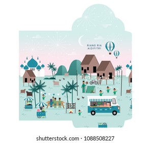 hari raya kampung scene money packet/envelope template vector/illustration with malay words that mean 'jolly aidilfitri'