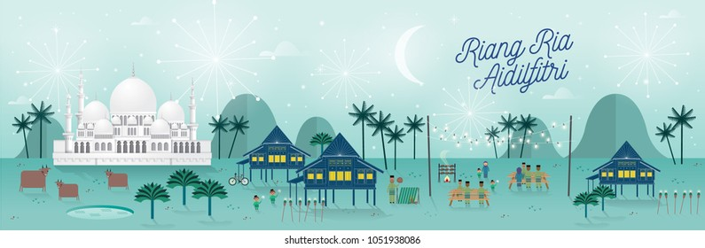 hari raya kampung/village celebration scene greetings template with malay words that mean 'jolly aidilfitri'