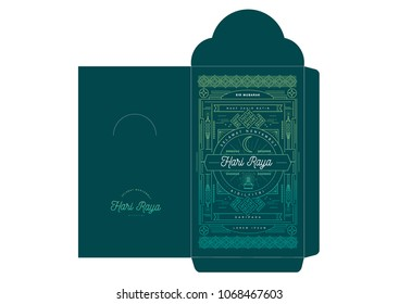hari raya money packet hipster/modern design template vector/illustration with malay words that mean 'blessed celebration', 'may you forgive us', 'happy hari raya', 'from'