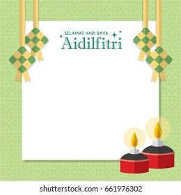 Hari Raya notepaper or message board with ketupat (malay rice dumpling) and pelita (oil lamp). Vector illustration (caption: Fasting Day celebration)