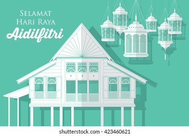 hari raya village house/kampung vector/illustration with malay words that means happy eid