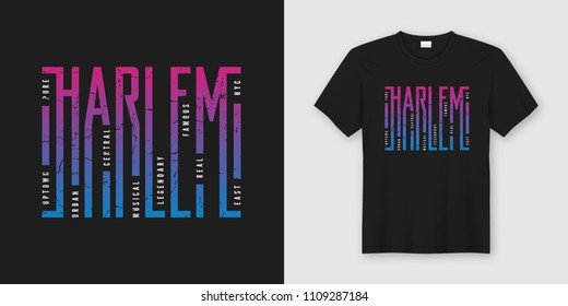 Harlem New York stylish t-shirt and apparel design, typography, print, vector illustration. Global swatches.