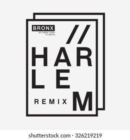 Harlem New York typography, t-shirt graphics, vectors, remix music