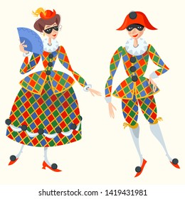 Harlequin and Columbina. Characters of Italian commedia dell'arte. Vector illustration.