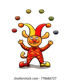 Harlequin dog who juggling Christmas balls in colors vector