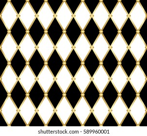 Harlequin patterns. Golden grid pattern with white and black rhomboids