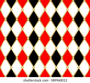 Harlequin patterns. Golden grid pattern with red, white and black rhomboids