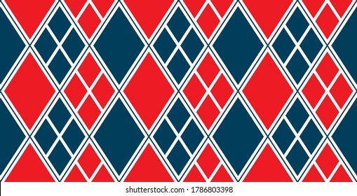Harlequin Tattoo Seamless Vector Argyle Pattern in Red and Blue. Comics Woman Superhero Costume Cosplay Diamond Design. Pattern Tile Swatch Included.
