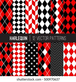Harlequin Vector Patterns in Red and Black Argyle, Diamond, Herringbone, Checkers, Chevron and Stars. Pattern Swatches Made with Global Colors.